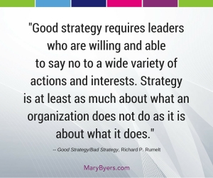 Good strategy requires leaders who are willing and able to say no